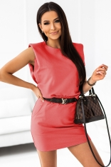 Komplet Dresowy Bluzka + Mini Spódniczka - Koralowy