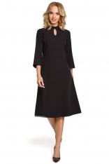 Czarna Sukienka Wizytowa z Rozkloszowanymi Rękawami
