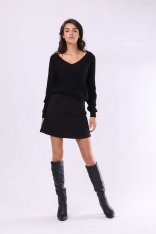 Czarna Wygodna Mini Spódnica o Fasonie Litery A