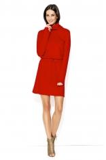 Czerwona Codzienna Trapezowa Sukienka z Wysokim Golfem