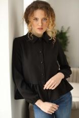 Koszulowa Bluzka z Falbanką - Czarna