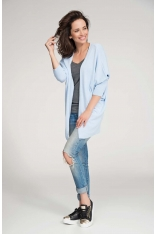 Błękitny Sweter Lekki Długi bez Zapięcia