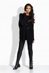 Czarny Sweter Oversizowy z Nieregularnym Dołem
