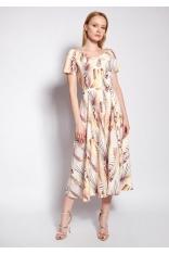 Midi Sukienka z Dekoltem Carmen w Tropikalne Liście