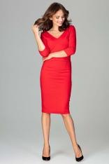 Czerwona Elegancka Dopasowana Sukienka z Dekoltem V