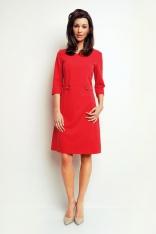 Czerwona Prosta Sukienka do Pracy z Patkami