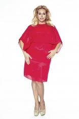 Czerwona Sukienka Elegancka Dwuwarstwowa Kimonowa Plus Size