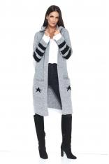 Szary Dwukolorowy Długi Sweter z Kapturem z Napisem NUMINOU