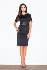 Elegancka Czarna Sukienka z Połyskliwymi Panelami