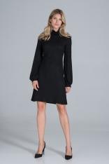 Dzianinowa Sukienka z Golfem - Czarna