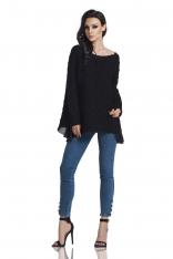 Czarny Asymetryczny Oversizowy Sweter z Szyfonową Falbanką