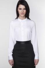 Biała Koszula z Długim Rękawem z Plisami