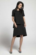 Czarna Trapezowa Sukienka z Asymetryczną Nakładką