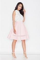 Różowa Elegancka Rozkloszowana Spódnica z Ozdobną Wstawką