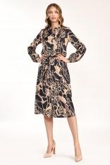 Rozkloszowana Midi Sukienka we Wzór Safari