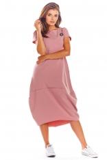 Różowa Codzienna Sukienka Bombka z Krótki Rękawem