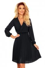 Kopertowa Sukienka z Plisowanym Dołem - Czarna