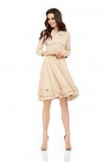 Sukienka Dresowa z Szerokim Dołem z Koronką - Beżowa