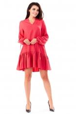 Różowa Sukienka z Dekoltem V  z Falbanką na Dole