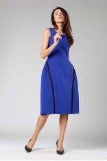 Kobaltowa Rozkloszowana Sukienka bez Rękawów z Wypustkami