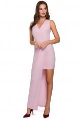 Liliowa Asymetryczna Długa Sukienka Wieczorowa