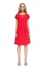 Czerwona Wyjściowa Sukienka o  Linii A z Kontrafałdą