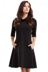 Czarna Sukienka Trapezowa Dzianinowa z Golfem