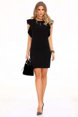 Czarna Ołówkowa sukienka z Falbankami na Ramionach