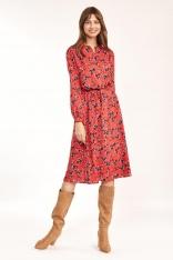Rozkloszowana Midi Sukienka w Kwiatowy Wzór - Czerwona
