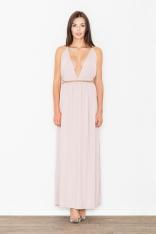Różowa Elegancka Maxi Sukienka z Ozdobnym Złotym Sznurkiem