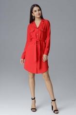 Czerwona Koszulowa Sukienka z Wiązanym Paskiem