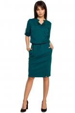 Zielona Sukienka w Sportowym Stylu z Niską Stójką