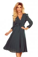 Sukienka Szyfonowa z Plisami - Zielona