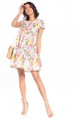 Wzorzysta Mini Sukienka z Falbanką - Wielokolorowe Kwiaty