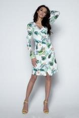 Biała Sukienka Wizytowa Kopertowa z Tropikalnym Motywem