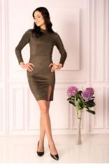 Khaki Ołówkowa Sukienka ze Stójką
