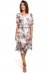 Zwiewna Szyfonowa Sukienka w Kwiaty z Falbanką - Model 1