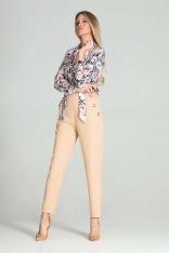 Spodnie z Wysokim Stanem z Ozdobnymi Guzikami - Beżowe