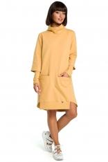 Żółta Dresowa Asymetryczna Sukienka z Golfem