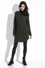 Oliwkowy Sweter-Tunika z Półgolfem