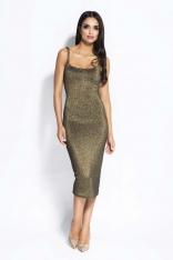 Złota Sukienka Bodycon na Cienkich Ramiączkach