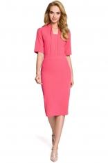 Różowa Sukienka Ołówkowa Midi z Efektownym Dekoltem