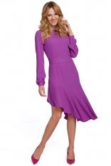 Rozkloszowana Sukienka z Asymetryczną Falbaną - Lawendowa
