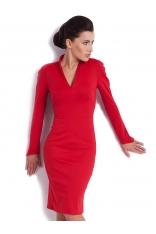 Czerwona Dzianinowa Klasyczna Sukienka ze Stójką