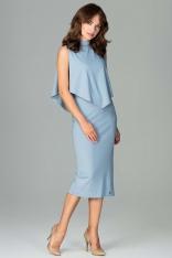 Niebieska Wizytowa Dopasowana Sukienka Midi z Peleryną