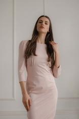 Dopasowana Midi Sukienka z Wiązaniem na Plecach - Różowa