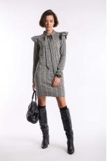Kamelowa Prosta Mini Sukienka w Kratkę z Wiązaniem przy Dekolcie
