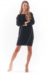Czarna Sportowa Sukienka z Metalowym Zamkiem