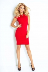 Sukienka Klasyczna Dopasowana z Zakładkami - Czerwona