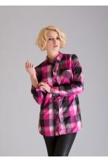 Nowoczesna Dłuższa Koszula - Różowa Krata